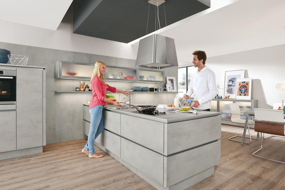 Tiroler Kuchenstudio Nobilia Kuchen Modell Riva Beton Grau
